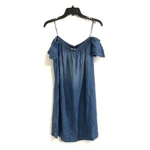 Anthro Cloth & Stone Off Shoulder Chambray Dress